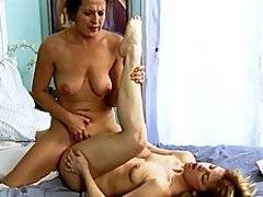 Elexis Monroe thrusts against Mia Presleys sweet young pussy in this video clip