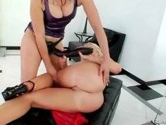 Redhead princess is masterfully licking her ass hole